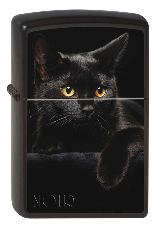 Зажигалка ZIPPO Чёрная кошка, латунь с покрытием Black Matte, чёрная, матовая, 36x12x56 мм зажигалка zippo classic с покрытием black crackle™ латунь сталь чёрная матовая 36x12x56 мм