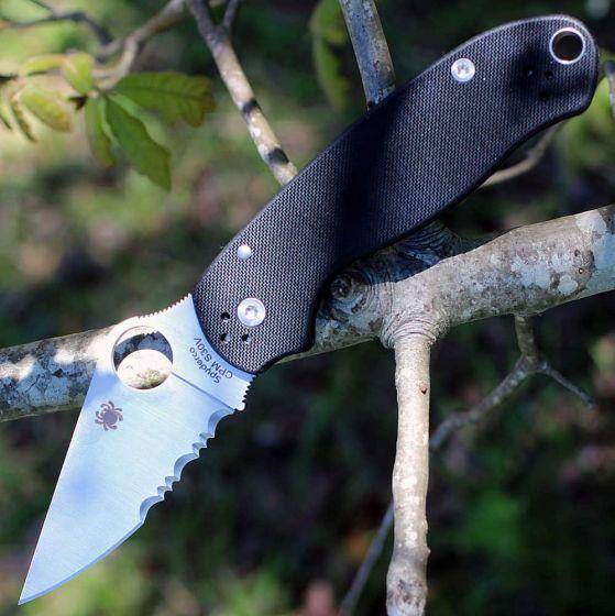 Фото 11 - Нож складной Para 3 - Spyderco 223GPS, сталь Crucible CPM® S30V™ Satin Combo, рукоять стеклотекстолит G10, чёрный
