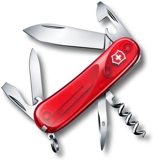 Нож перочинный Victorinox Evolution 10.600 2.3803.ET 85мм 13 функций полупрозрачный красный цена