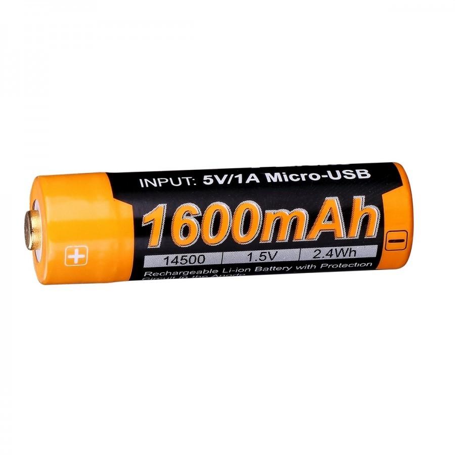 Аккумулятор 14500 Fenix 1600U mAh с разъемом для USB