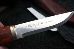 Нож с фиксированным клинком Brusletto Nansen, сталь Sandvik 12C27, рукоять карельская береза, фото 4