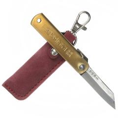 Нож складной Nagao Higonokami, сталь Aogami, рукоять латунь, жёлтый, в картонной коробке, фото 3