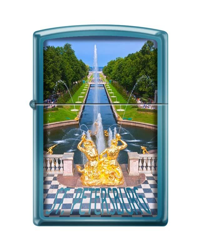 Зажигалка ZIPPO Петергофский фонтан, латунь/сталь с покрытием Sapphire™, синяя, 36x12x56 мм зажигалка zippo classic с покрытием cerulean™ латунь сталь синяя глянец 36x12x56 мм