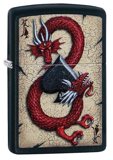 Зажигалка ZIPPO Dragon Ace с покрытием Black Matte, латунь/сталь, чёрная, матовая, 36x12x56 мм