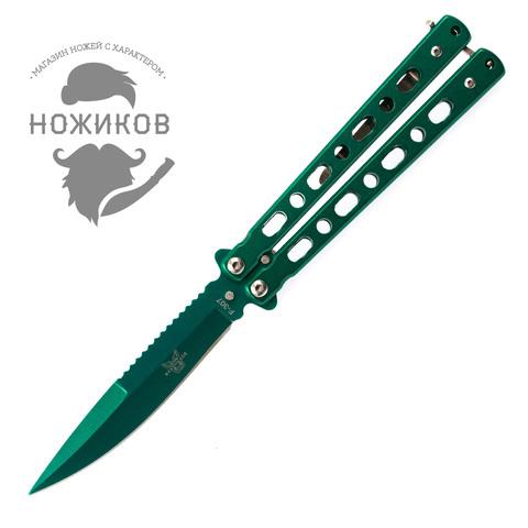 Нож-бабочка (балисонг) зеленый. Вид 1