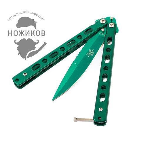 Нож-бабочка (балисонг) зеленый. Вид 2