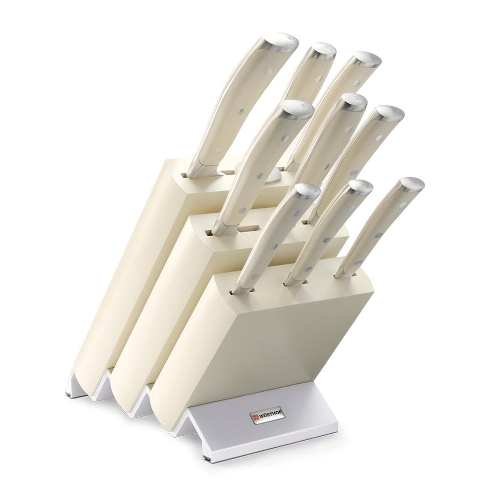 Набор кухонных ножей 9 шт. на деревянной подставке 9874, серия Ikon Cream White