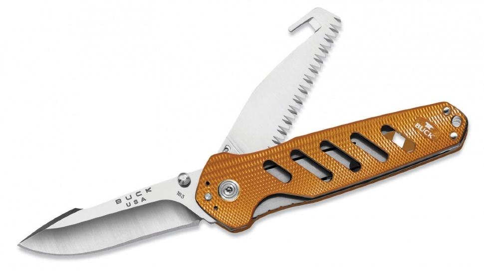 Фото 12 - Нож складной 183 Alpha Crosslock - BUCK 0183ORS, сталь 420HC, рукоять алюминий, оранжевый