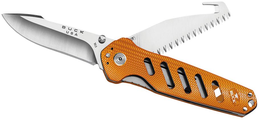 Нож складной 183 Alpha Crosslock - BUCK 0183ORS, сталь 420HC, рукоять алюминий, оранжевый