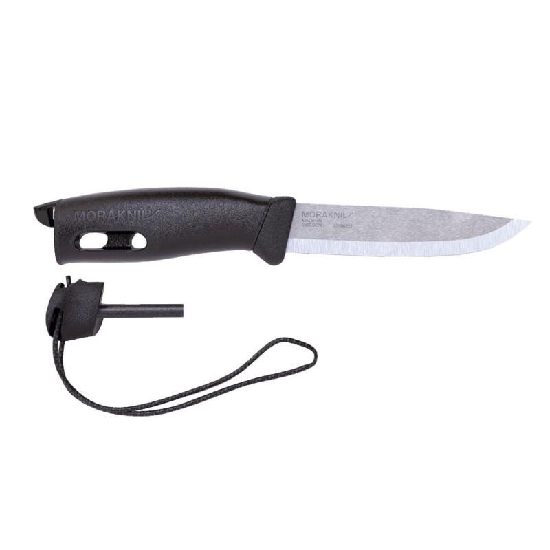 Фото 12 - Нож с фиксированным лезвием Morakniv Companion Spark Black, сталь Sandvik 12C27, рукоять резина/пластик