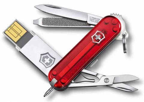 Нож перочинный Victorinox@work 4.6125.TG16B c USB-модулем 16Гб 58мм 8 фнк полупрозрачный красный - Nozhikov.ru