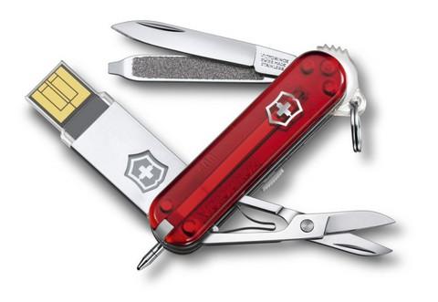 Нож перочинный Victorinox@work 4.6125.TG32B c USB-модулем 32Гб 58мм 8 фнк полупрозрачный красный - Nozhikov.ru