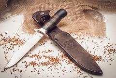 Нож разведчика, Х12МФ, черный граб, кожа