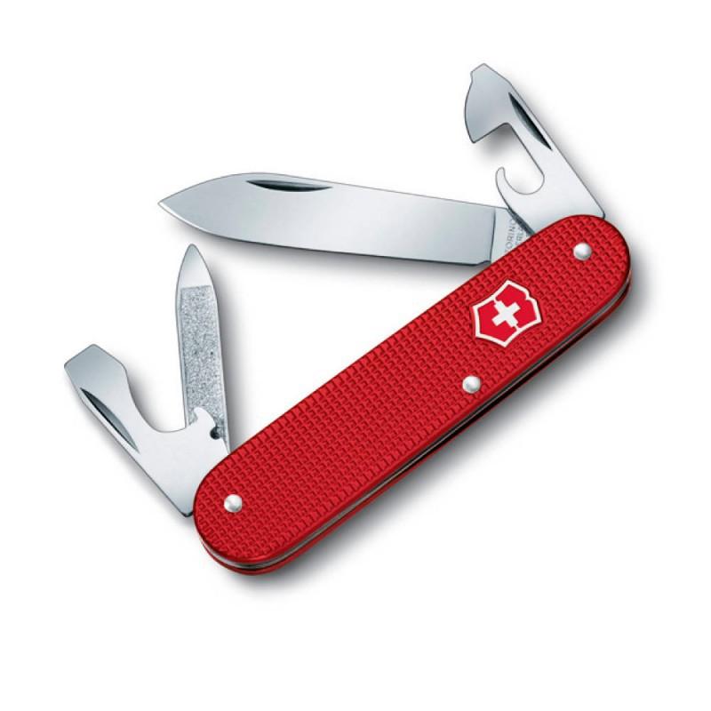 цена на Нож перочинный Victorinox Cadet 0.2600.L1221 84 мм 8 фнк с кожаным чехлом алюминиевая рукоять красный