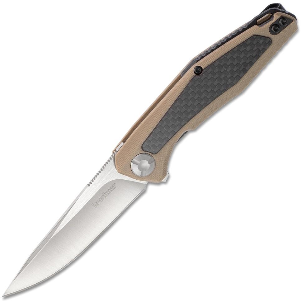 Фото 6 - Складной нож Atmos KERSHAW 4037TAN, лезвие сталь 8Cr13MoV, рукоять G10/карбон, бежевый (песочный) цвет
