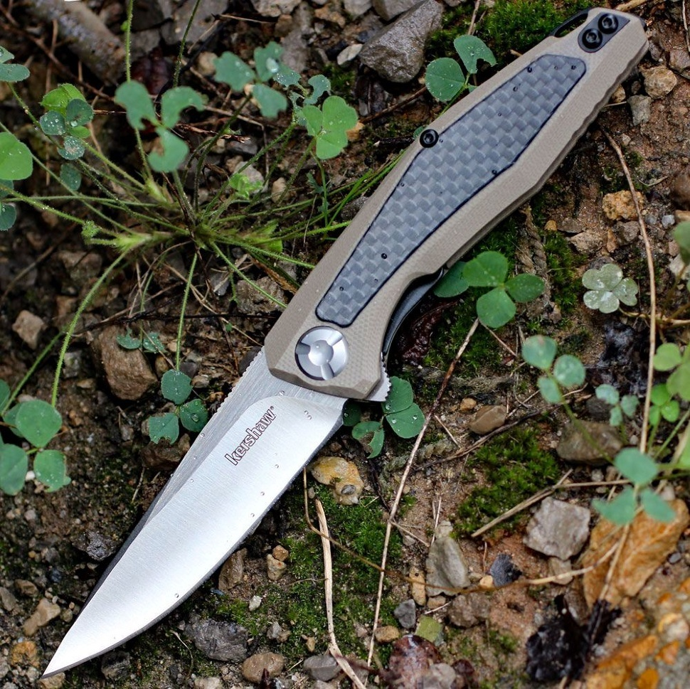 Фото 8 - Складной нож Atmos KERSHAW 4037TAN, лезвие сталь 8Cr13MoV, рукоять G10/карбон, бежевый (песочный) цвет