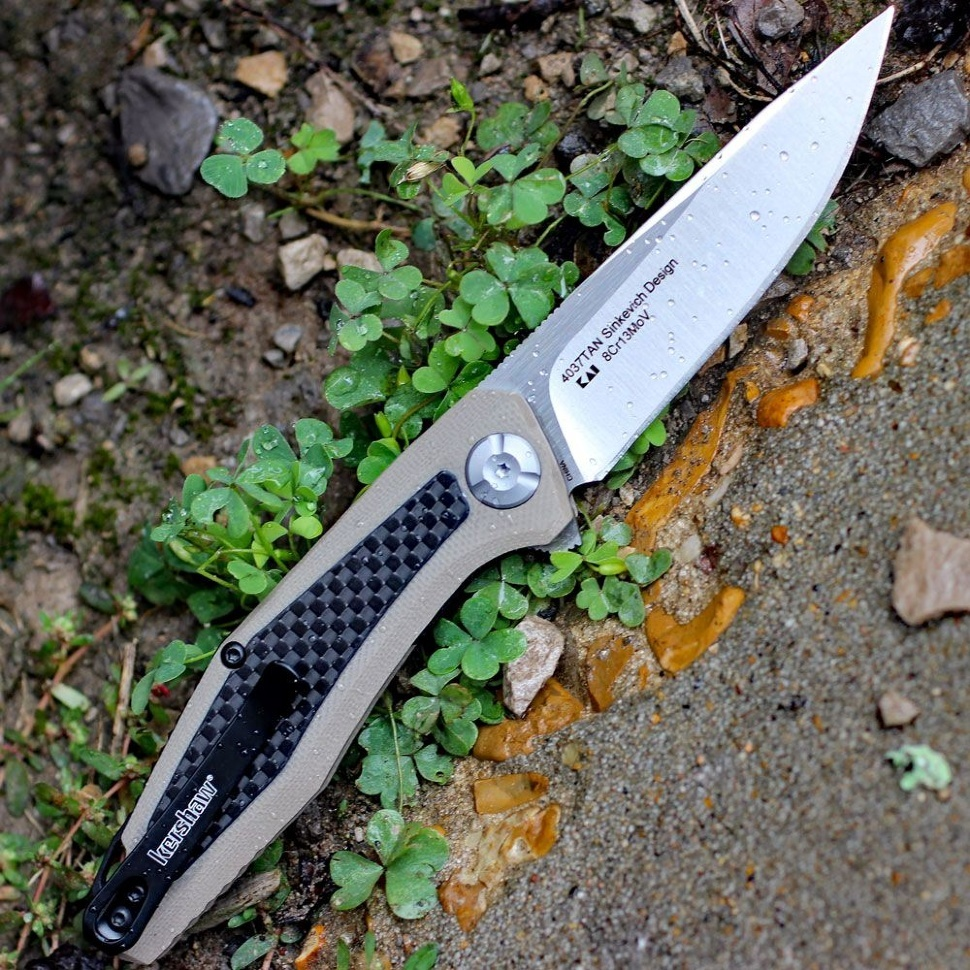 Фото 9 - Складной нож Atmos KERSHAW 4037TAN, лезвие сталь 8Cr13MoV, рукоять G10/карбон, бежевый (песочный) цвет
