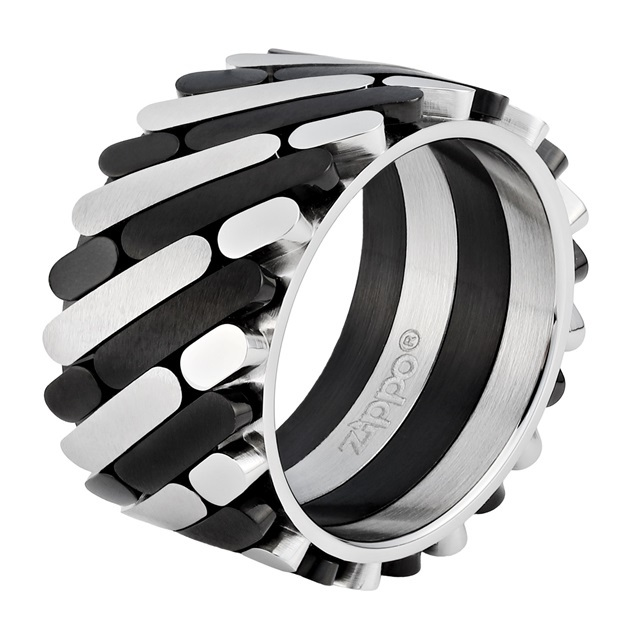 Фото - Кольцо ZIPPO, серебристо-чёрное, нержавеющая сталь, 1,2x0,25 см, диаметр 17,8 мм