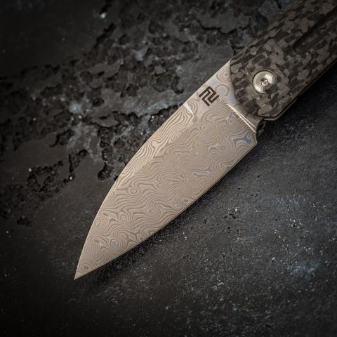 Складной нож Artisan Centauri, сталь дамаск, карбон/титан. Вид 2