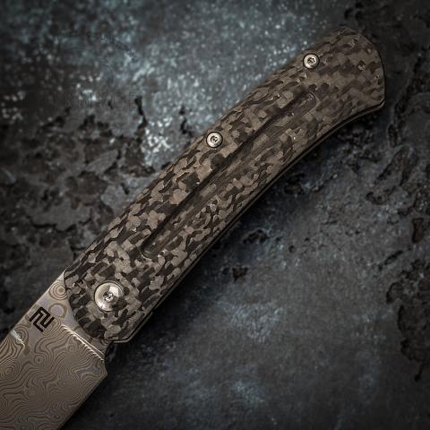 Складной нож Artisan Centauri, сталь дамаск, карбон/титан. Вид 3