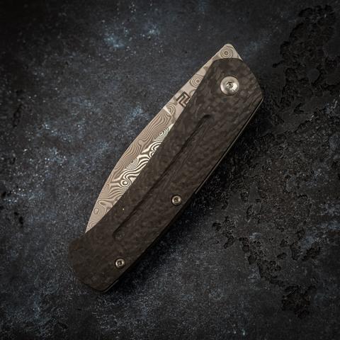 Складной нож Artisan Centauri, сталь дамаск, карбон/титан. Вид 5