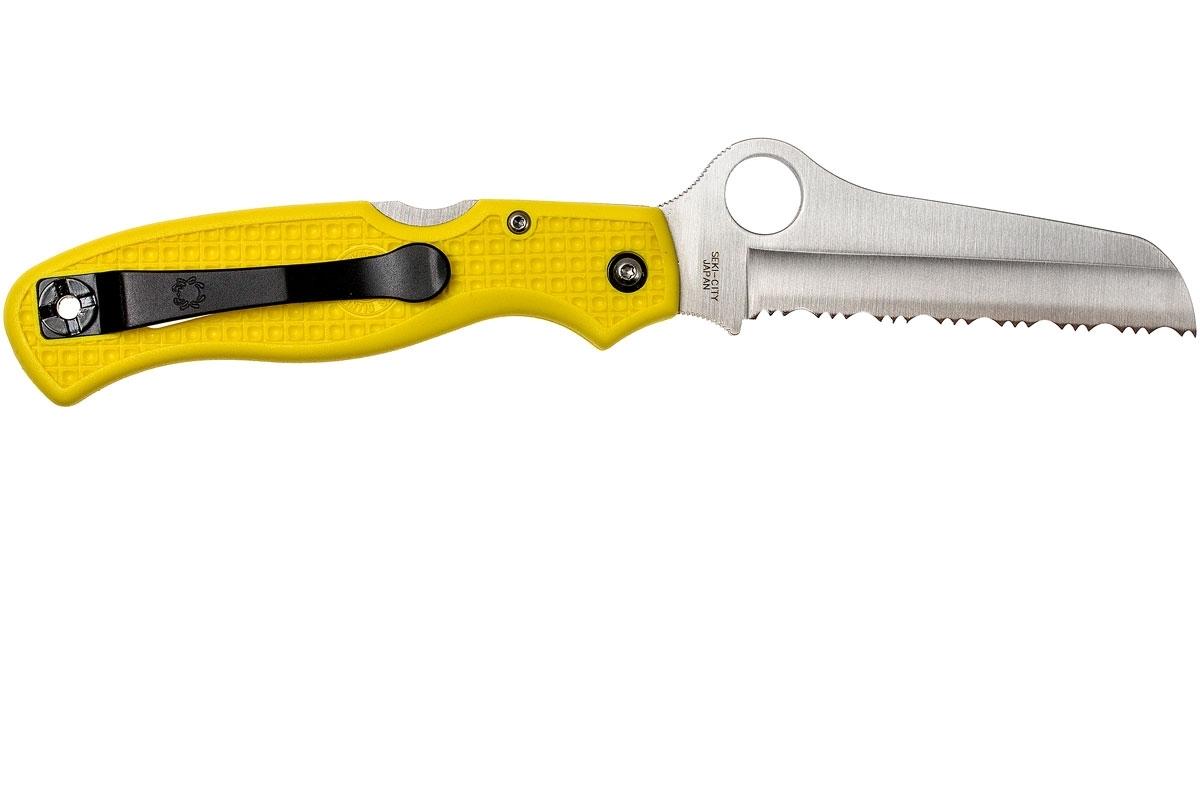 Фото 14 - Нож складной Atlantic Salt Spyderco C89SYL, сталь H1 Satin Serrated, рукоять термопластик FRN желтый