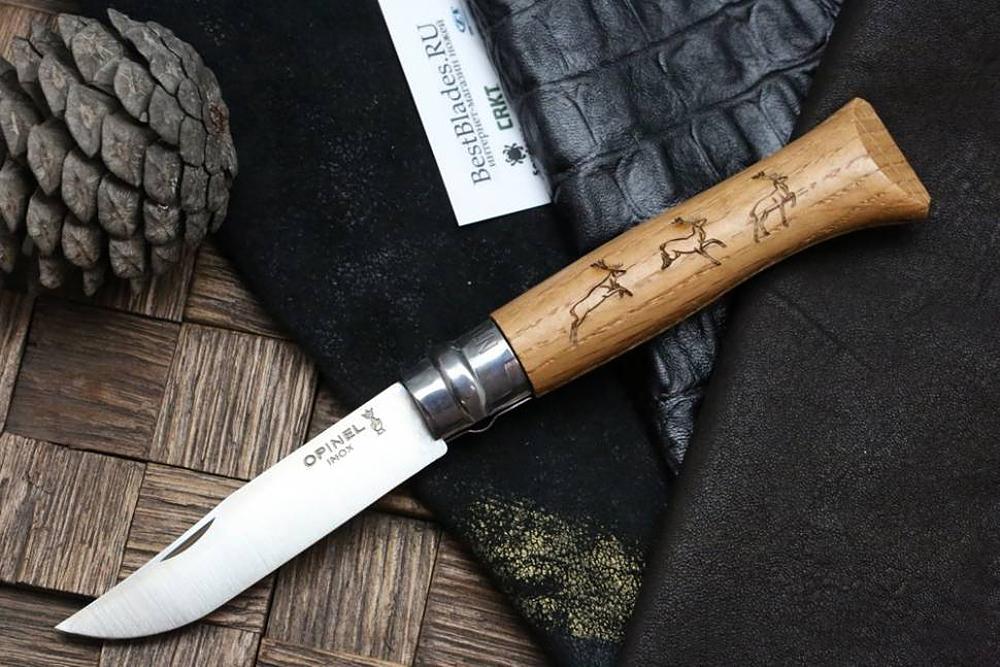 Фото 9 - Складной Нож Opinel №8 VRI Animalia Deer, нержавеющая сталь Sandvik 12C27, 001620, гравировка олень