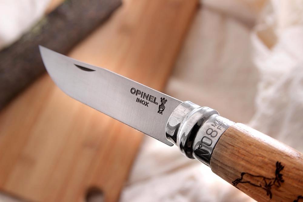 Фото 10 - Складной Нож Opinel №8 VRI Animalia Deer, нержавеющая сталь Sandvik 12C27, 001620, гравировка олень
