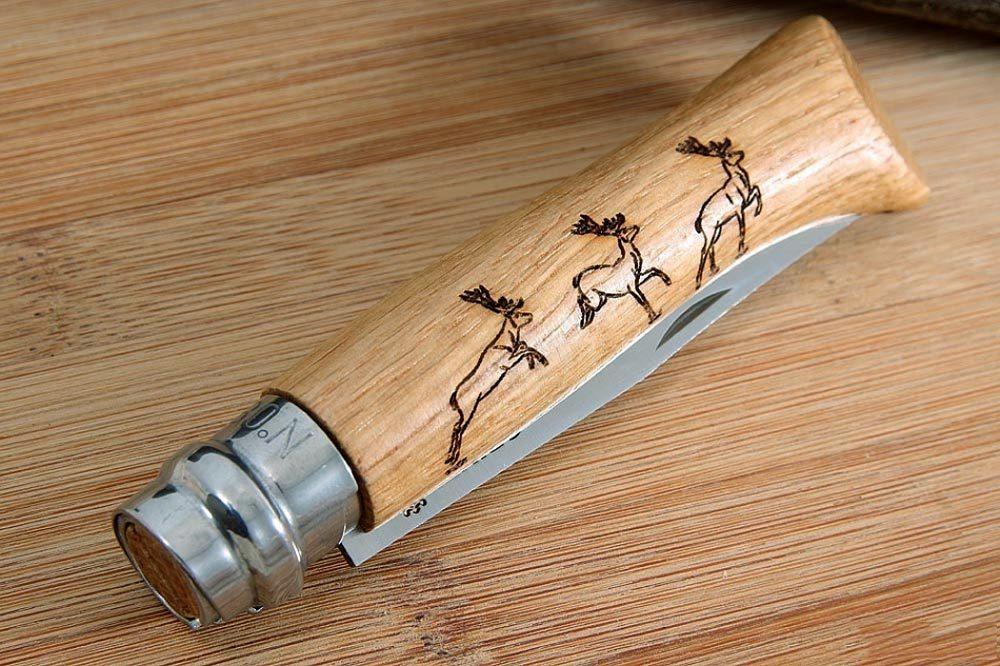 Фото 11 - Складной Нож Opinel №8 VRI Animalia Deer, нержавеющая сталь Sandvik 12C27, 001620, гравировка олень