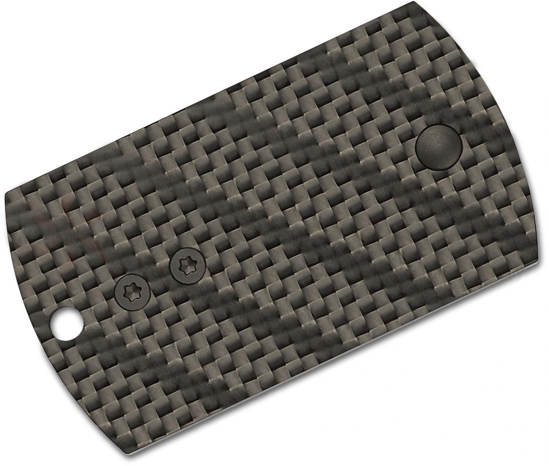 Фото 6 - Складной нож-брелок Dog Tag Folder Black - Spyderco 188CFBBKP, сталь CPM S30V TiNi coating, рукоять G10/карбон, чёрный