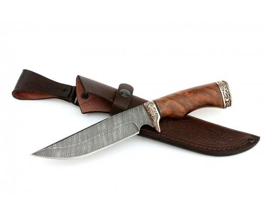 Нож из дамасской стали «Легионер», мельхиор от Кузница Семина
