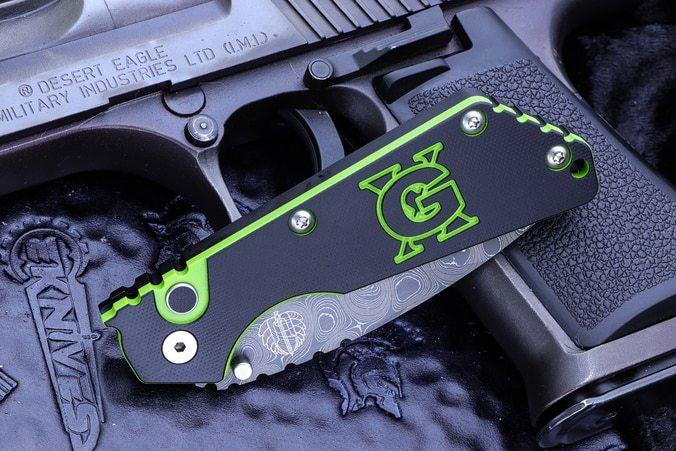 Фото 2 - Автоматический складной нож Pro-Tech Pro-Strider SnG Auto USN GX Custom Chad Nichols Damascus, дамасская сталь, рукоять алюминий, черно-зеленый