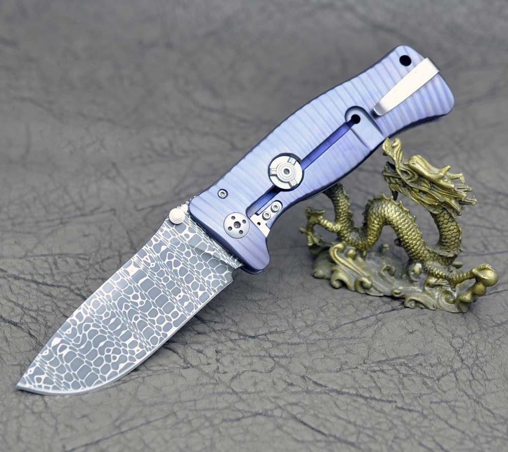 Фото 3 - Нож складной LionSteel SR1DI V (VIOLET), сталь дамаск, рукоять титан, фиолетовый от Lion Steel