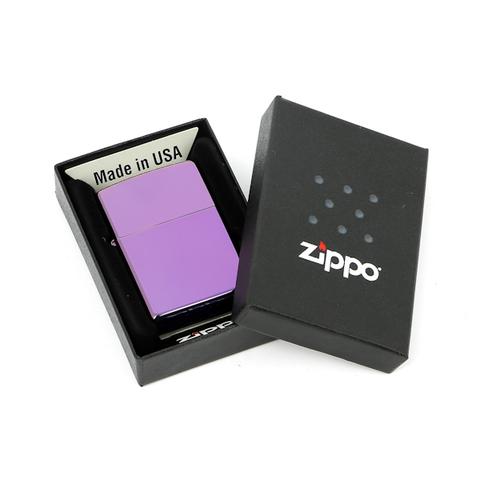 Зажигалка ZIPPO Abyss Classic, латунь с покрытием, фиолетовый, глянцевая, 36х12x56 мм. Вид 3