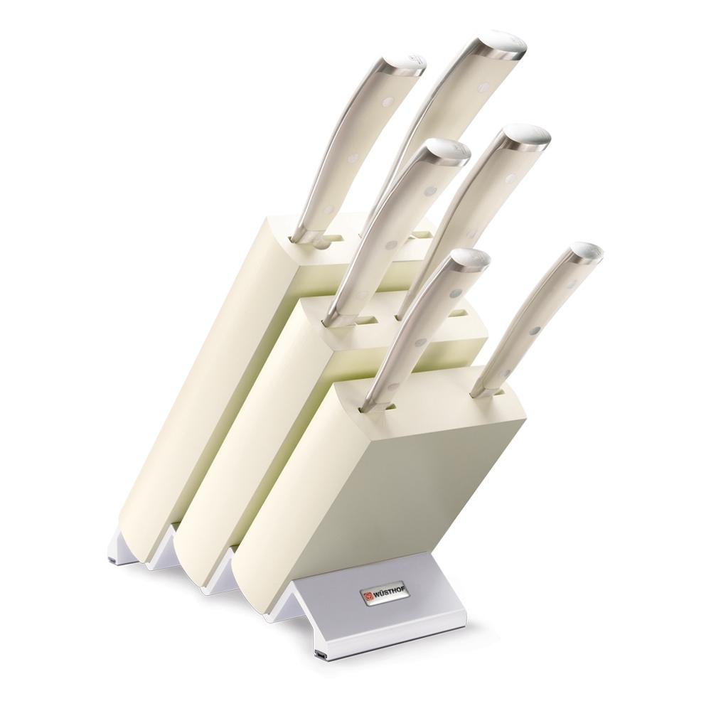 Набор кухонных ножей 6 шт. на деревянной подставке 9877 WUS, серия Ikon Cream White