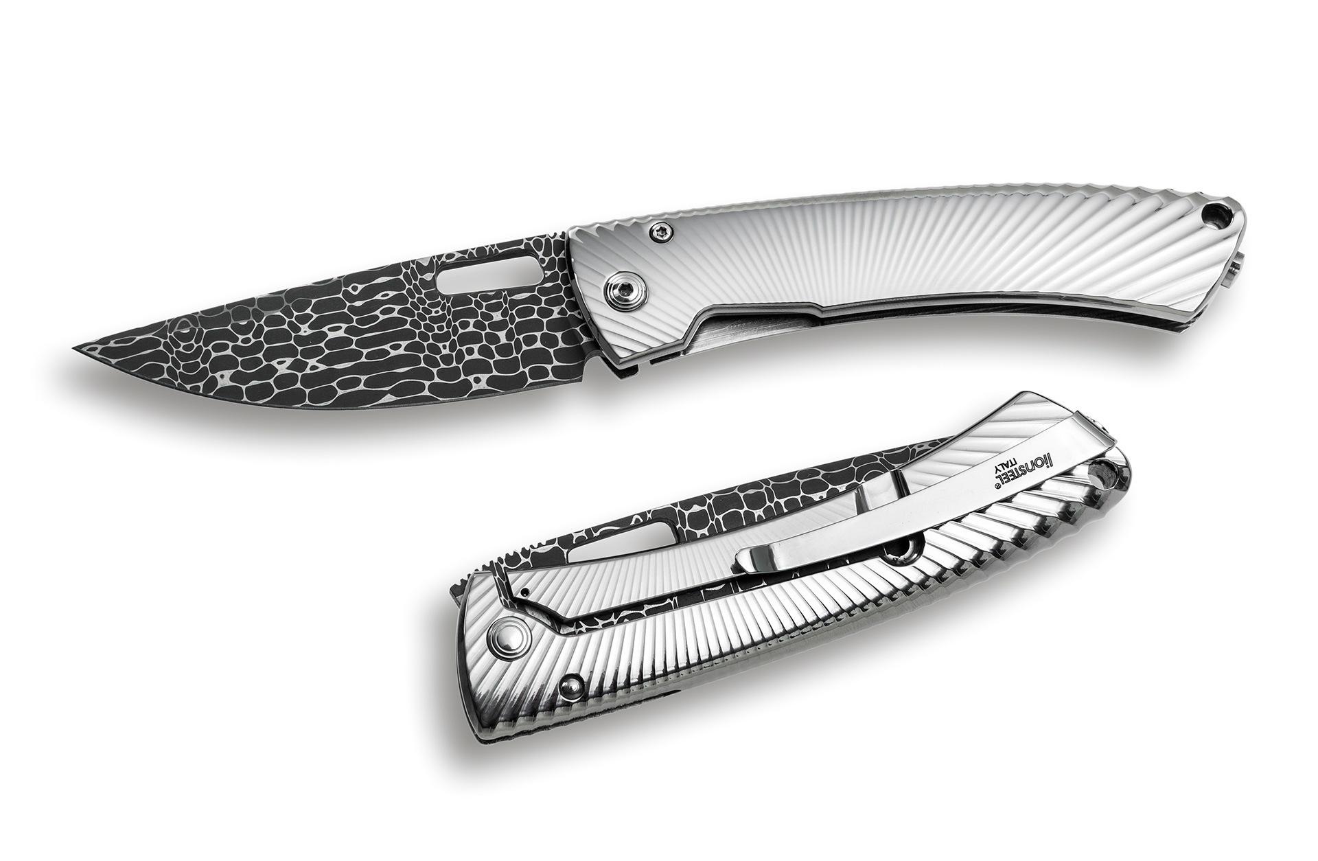 Фото 6 - Нож складной LionSteel TS1DL GS, дамасская сталь, рукоять титан от Lion Steel
