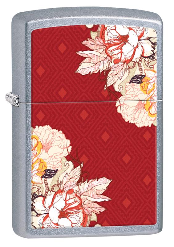 Зажигалка ZIPPO Classic Цветы с покрытием Street Chrome™ зажигалка zippo classic с покрытием candy apple red™