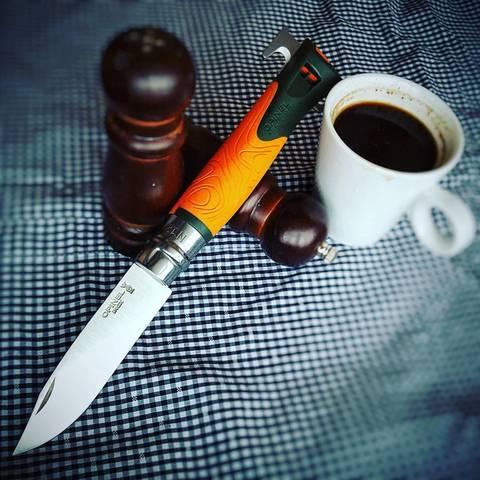 Складной нож Opinel №12 Explore, нержавеющая сталь Sandvick 12C27, рукоять термопластик, оранжевый. Вид 4
