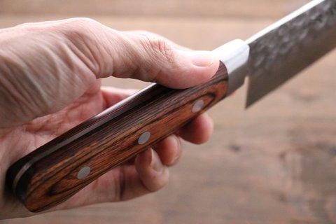 Нож Гранд Шеф 240 мм, Sakai Takayuki, сталь VG-10 Damascus, рукоять махагон. Вид 10