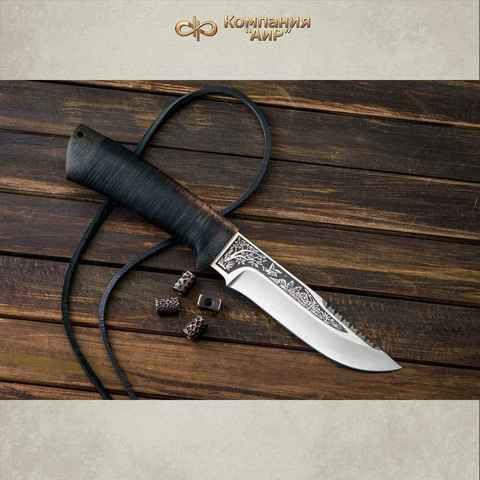 Нож АиР Стрелец, сталь К-340, рукоять кожа. Вид 4