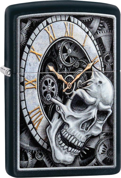 Зажигалка ZIPPO Skull Clock с покрытием Black Matte, латунь/сталь, чёрная, матовая, 36x12x56 мм