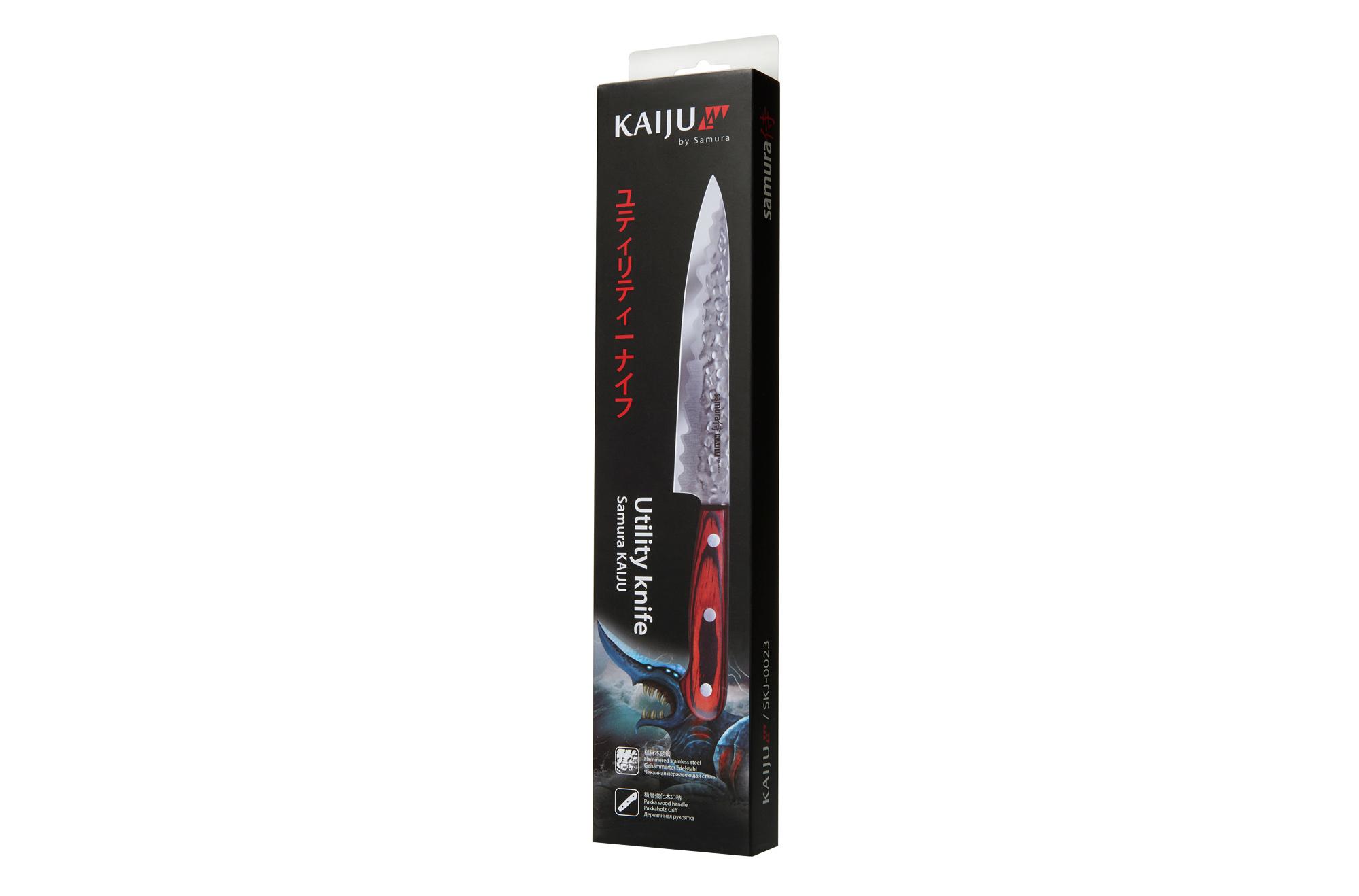 Фото 7 - Нож кухонный Samura KAIJU универсальный - SKJ-0023, сталь AUS-8, рукоять дерево, 150 мм