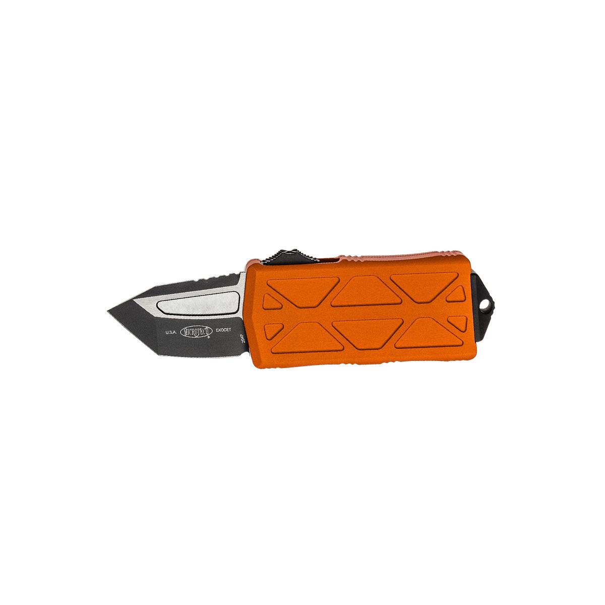 Автоматический выкидной нож-зажим для купюр Microtech Exocet MT_158-1OR, сталь CTS-204P, рукоять алюминиевый сплав