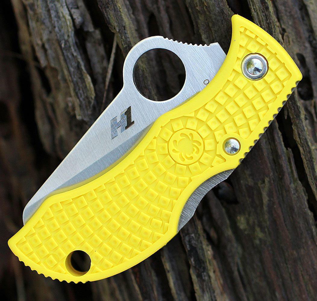 Фото 6 - Нож складной ManBug Salt Lightweight Spyderco MYLS, сталь H1 Satin Serrated, рукоять термопластик FRN, жёлтый