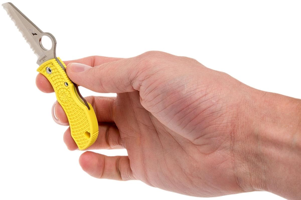 Фото 7 - Нож складной ManBug Salt Lightweight Spyderco MYLS, сталь H1 Satin Serrated, рукоять термопластик FRN, жёлтый