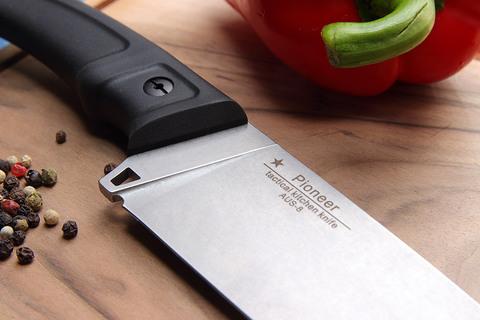 Кухонный тактический мужской нож Pioneer, сталь AUS-8. Вид 4