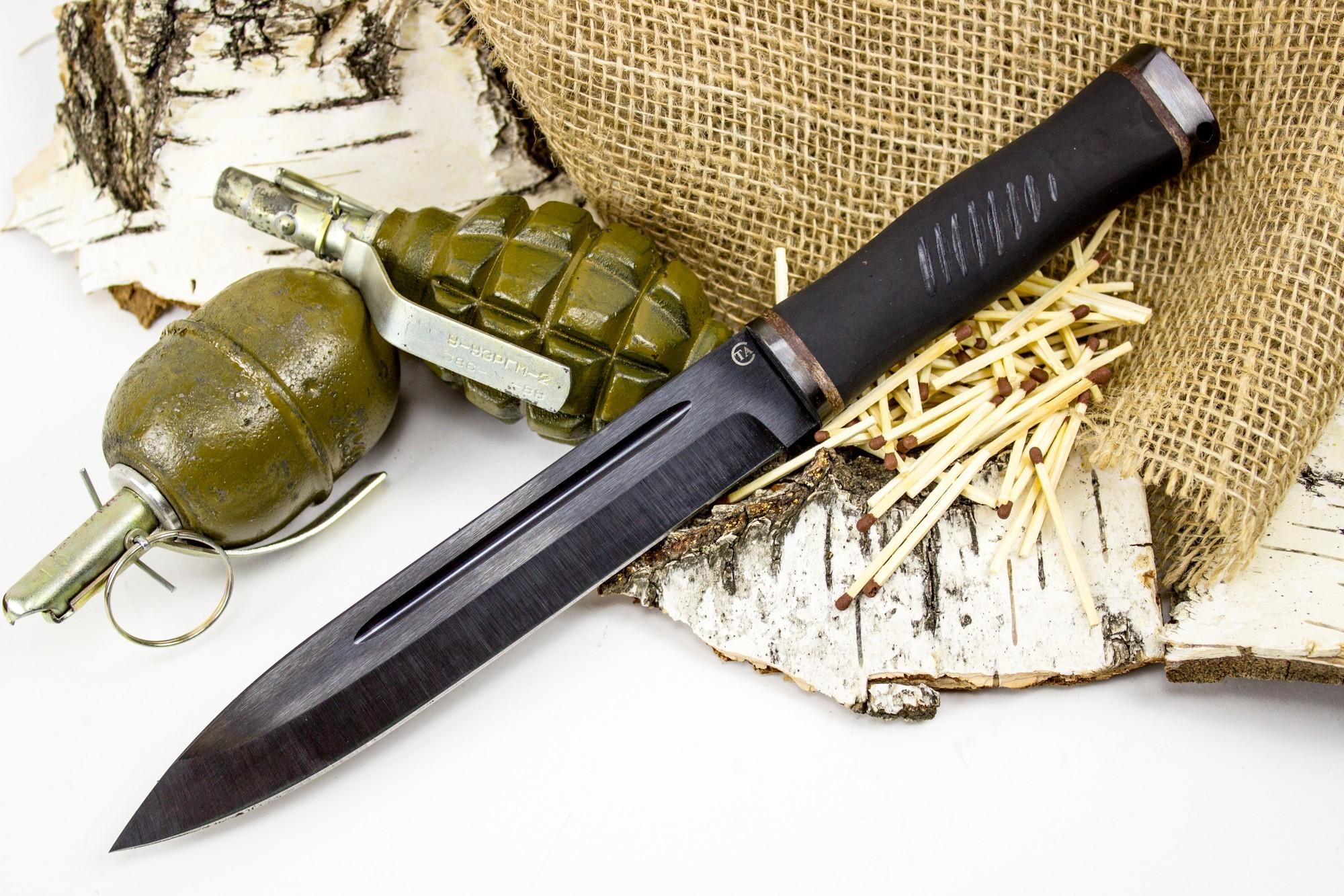 Нож Горец-2, сталь 65Г, резина от Титов и Солдатова