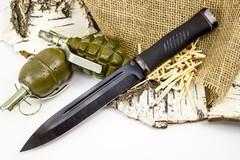 Нож Горец-2, сталь 65Г, резина
