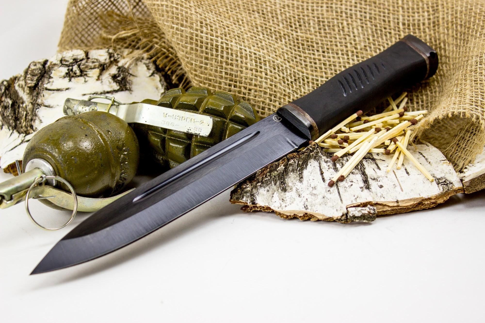 Фото 6 - Нож Горец-2, сталь 65Г, резина от Титов и Солдатова