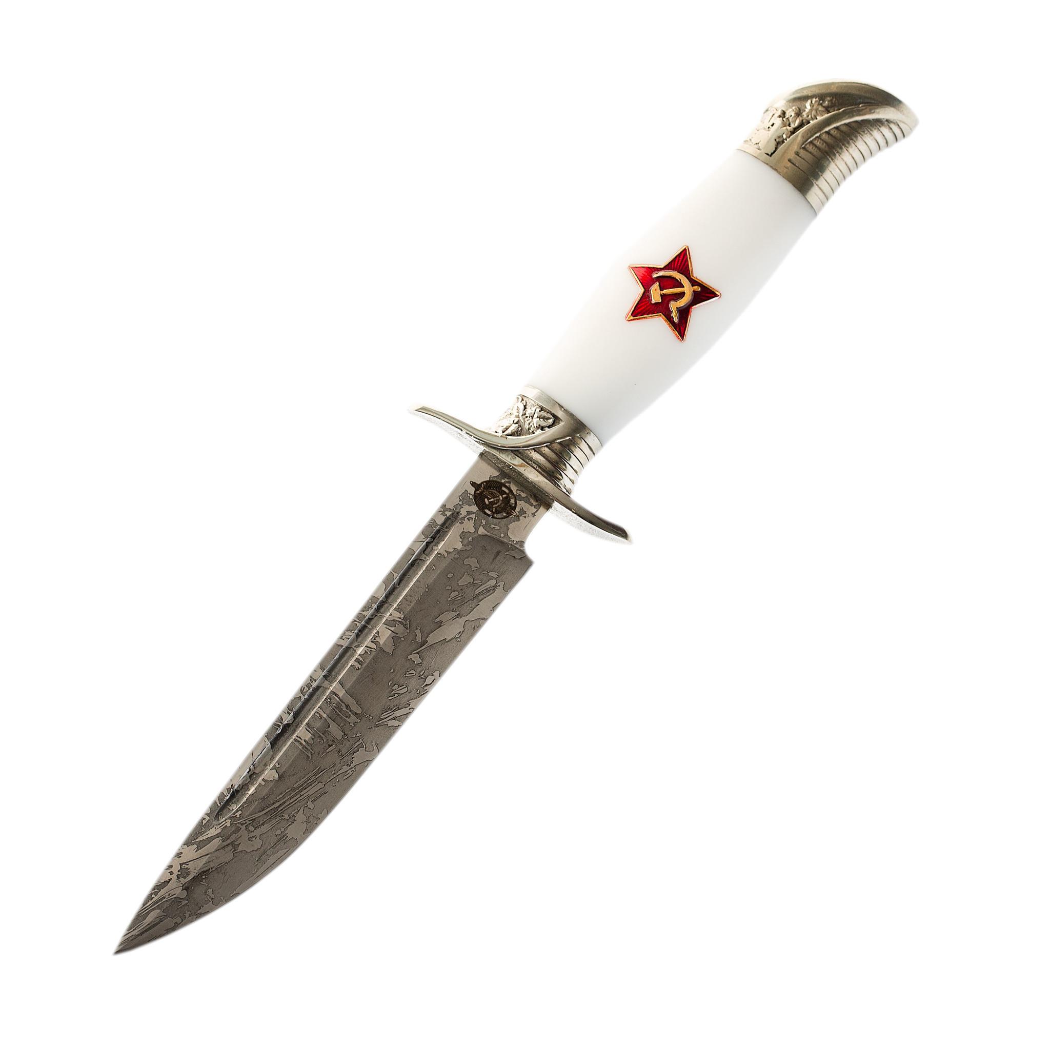 Нож Финка НКВД со звездой, сталь Х12МФ, белый акрил